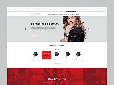 Smartwatch product homepage clean web web design layout cart smartwatch ecommerce minimal ui webdesign