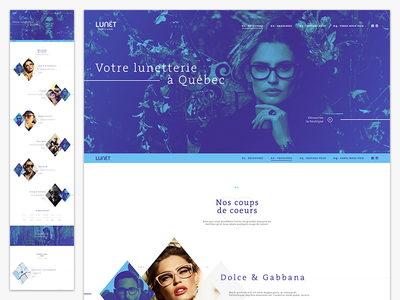 Lunet - Eyeglass Store header brands homepage minimal layout webdesign web ui offgrid simple clean colors