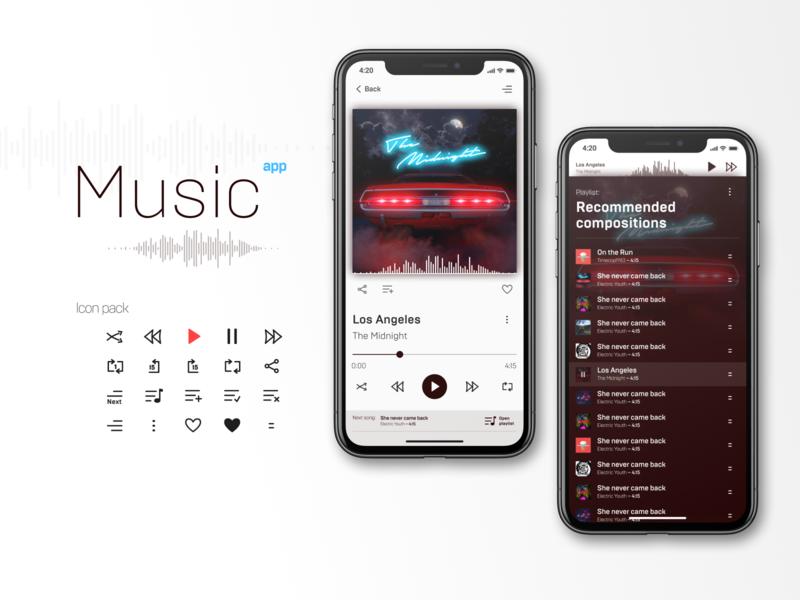 Music app pack figma free type art icon branding minimal animation flat design ui the midnight play app music app icons