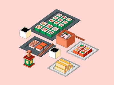 Sushi and quad`roll madrabbit moi3d eat sushi roll illustration easymetry colors 3d inflat flat design