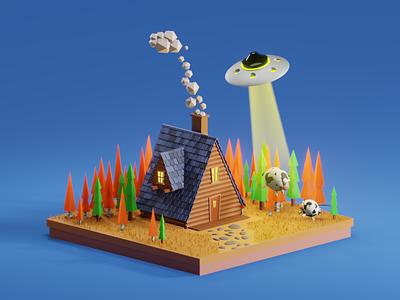 UFO cow ufo cow blender 3d reference halloween blender kaino3d colors 3d design