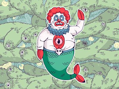 Scary Christmas clown fish joker top scary new year flat design madrabbit inflat illustration