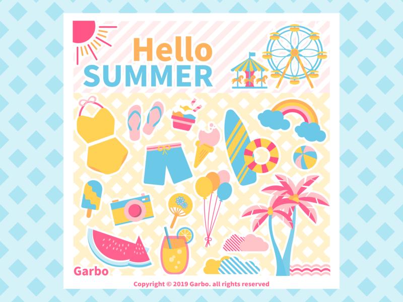 Seasons: Summer illustration season summer icon vector