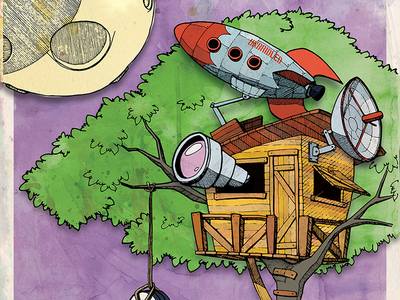 Ground Control rocket treehouse texture drawing illustration