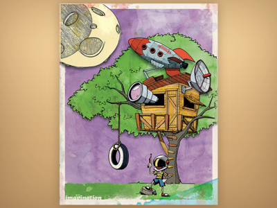 Ground Control (full) poster texture rocket treehouse drawing illustration