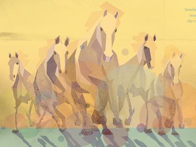 Unbridled stylized horses texture polygon illustration