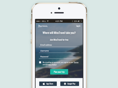 Join - Mobile travel misstravel mobile ux ui rwd iphone
