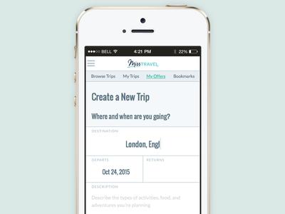 Create a Trip mobile misstravel responsive rwd mobile ux ui