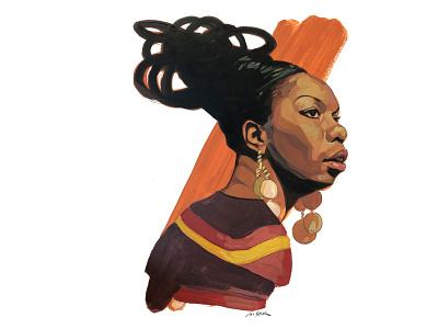 Nina Simone illustrated portrait portrait illustration editorial editorial illustration portrait realism painting traditional illustration painterly illustration