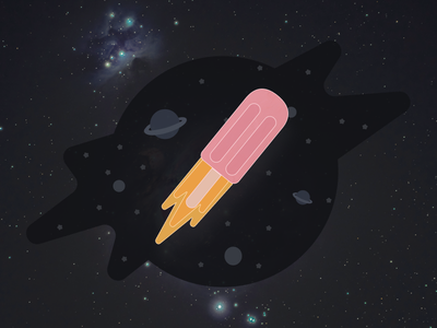 Pink Popsicle Space Travel flat branding logo illustration icon design