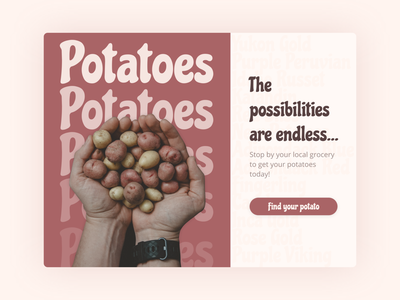Daily UI - Day 012 potatoes potato single product branding app dailyui ui figma design