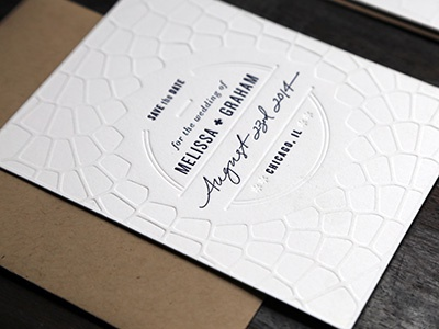 Save The Date letterpressed wedding invitations envelopes chicago kraft