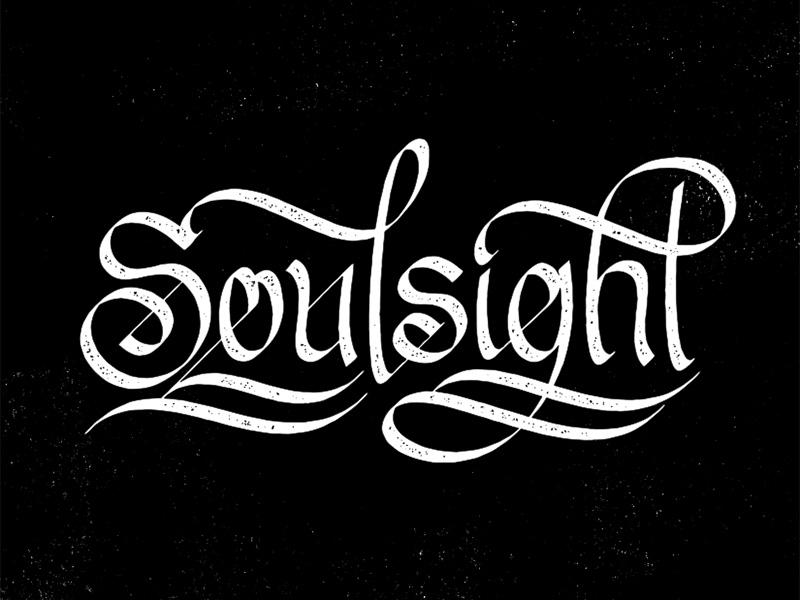 Soulsight Script black and white branding gritty grit texture vector soulsight calligraphy script illustration type logo brandmark typography