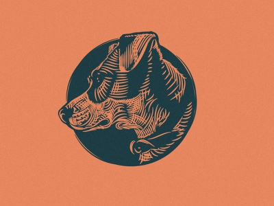 006 Hogan etching illustration hogan dog badge logo