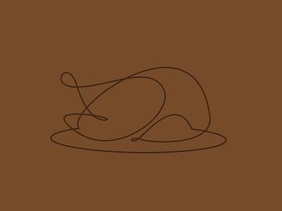 TRKY vector illustration monoline line drawing linework thanksgiving turkey
