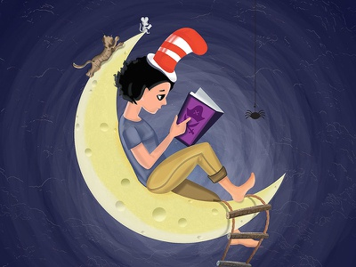 Curl Up with a book cat mouse cheese moon classics hat reading read book