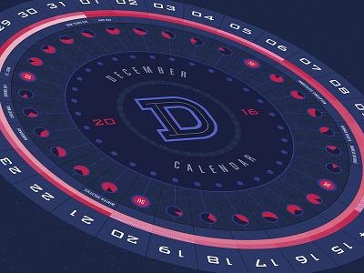December Calendar layered design idaho boise circle round 2016 monthly december wheel abstract calendar