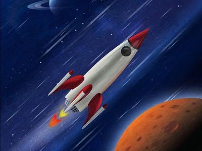Just a Rocket red jupiter planets fast zooming space rocket