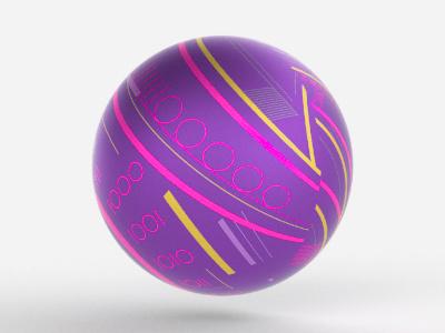Wrapped Sphere 3d render purple neon wrap ball sphere