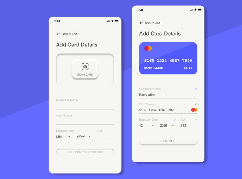 Add Card Details credit card illustration ux ui design