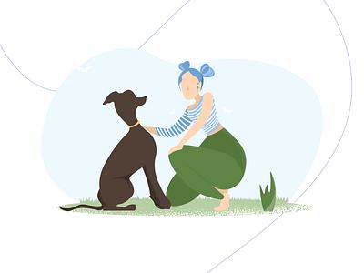 Dogs and People animal illustration webillustration characterdesign digital illustration adobe illustrator vector illustration flat
