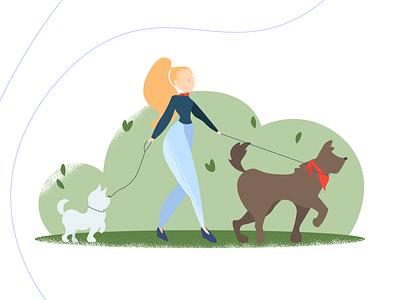 Dogs&People females animal illustration design social distancing characterdesign digital illustration adobe illustrator vector illustration flat