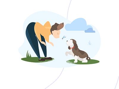 Dogs and People animal illustration characterdesign digital illustration vector adobe illustrator illustration flat