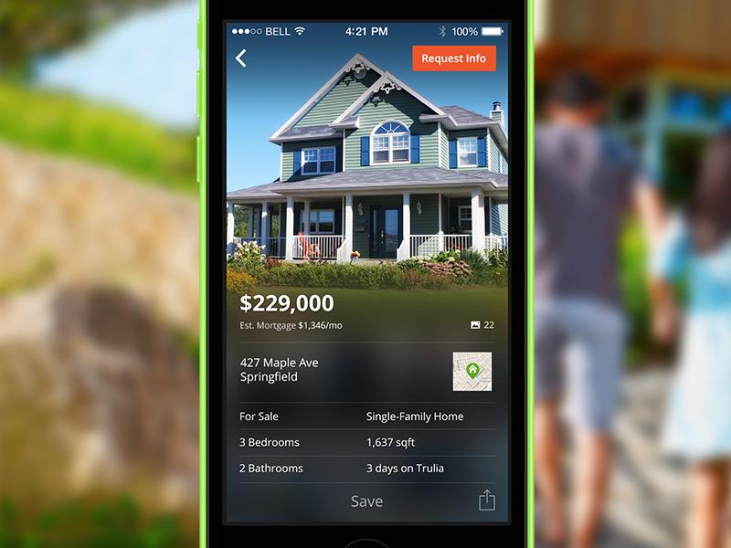 Trulia for iOS7 ios ios7 real estate simple clean flat ui data mortgage maps