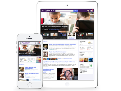 Yahoo! Homepage ui interface navigation homepage ux search news web mobile tablet