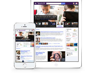 Yahoo! Homepage ui interface navigation homepage ux search news web mobile tablet