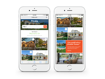 mWeb Discover Homepage ui simple clean mosaic gallery real estate mortgage data homepage mobile web search ios