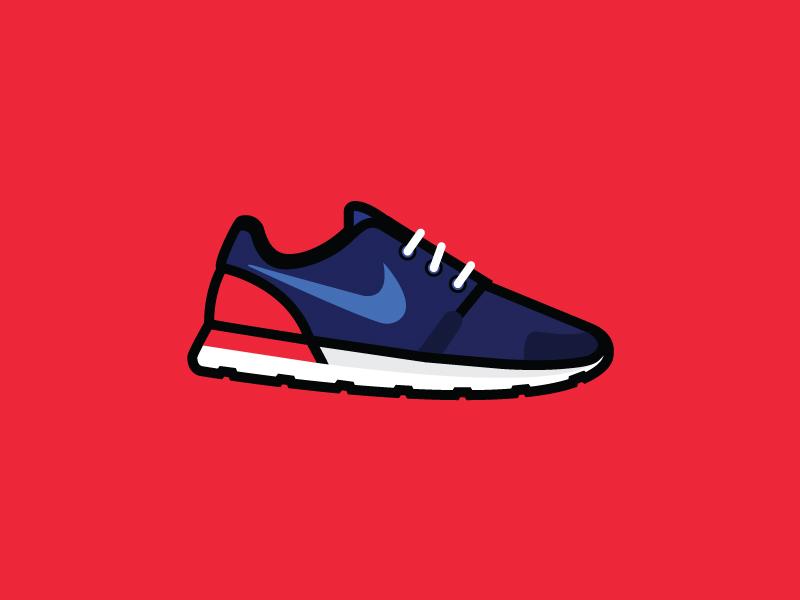Nike Roshe running paris shoes roshe nike vector illustration