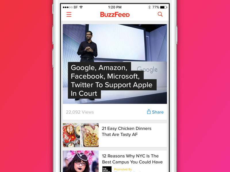 BuzzFeed Mobile Feed feed news app player video media content buzzfeed mobile ui iphone ios
