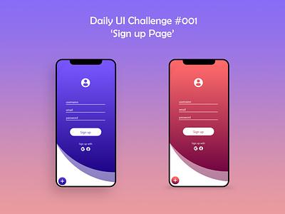 Daily UI #001 Sign Up mobile app design mobile app mobile ui uxdesign uiux uidesign dailyuichallenge daily ui dailyui app ux ui design