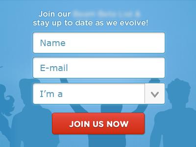 Join Us form web design landing page webdesign