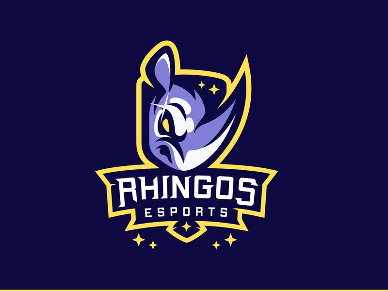 Rhingos eSport Rhino + Shield Mascot vector illustration morlaix bretagne laureaux didier branding gaming esport logo mascot