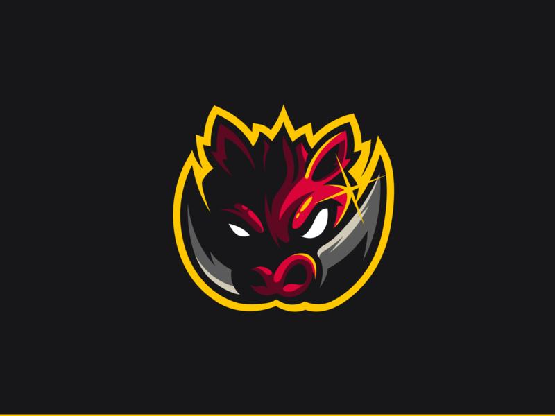 Boar Mascot Logo gaming esport graphiste bretagne laureaux didier boar logo mascotlogo mascot