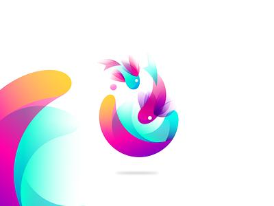 Double Fish Logo Gradient Exploration graphiste bretagne laureaux didier branding gradient logodesign logo exploration sphere fish logo fish
