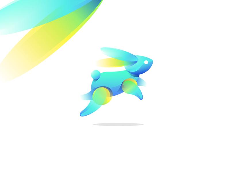 Rabbit Gradient Logo Exploration illustration graphiste laureaux didier gradient logo rabbit logo rabbit