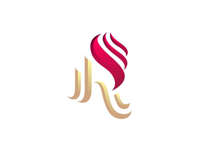 R + Luxury Logo design branding brand luxury logo luxury luxe flame laureaux didier restaurant logo r red
