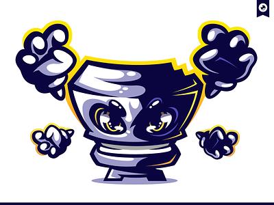 Pixel Warrior Mascot Illustration graphiste laureaux didier gaming esport illustration branding logo mascot warrior pixel