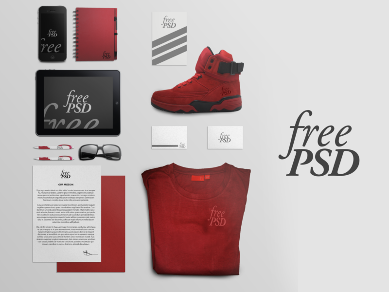 Branding Stationery Free PSD  branding stationery free psd template mock up
