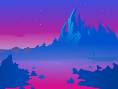 Mountain Bleupink mountain blue pink laureaux didier bretagne graphiste group francais