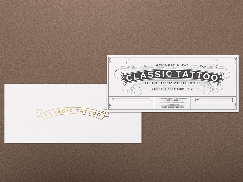 Gift certificate for a tattoo studio layout classic tattoo certificate mockup effect lettering century 19th vintage old