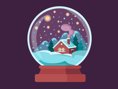 Illustration of a glass ball with winter landscape