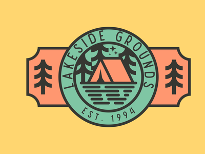 Lakeside Grounds Logo figma illustration line art logo design illustrations logo lakeside tent trees camping