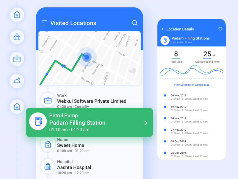 Visited Locations and Details • Android Mobile App uidesign design interface design map mobile app ui ui location based material icons location pin location tracker location app android app design material design mobile app design mobile ui app design