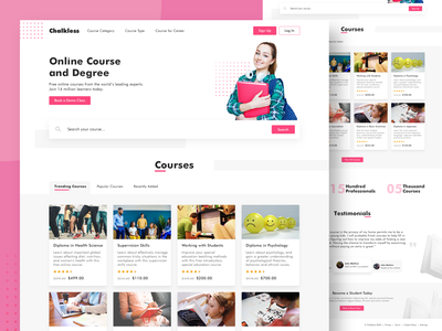 Online Course Landing Page • Chakless userinterface ux uidesign ux ui landing page interface ui design degree project degree web online courses online educaion web design ui online course