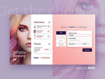 Daily UI Challenge #002 shopping bag shopping online digital ui web interface brand design branding credit card checkout checkout page cosmetics beauty design dailyuichallenge dailyui 002 dailyui