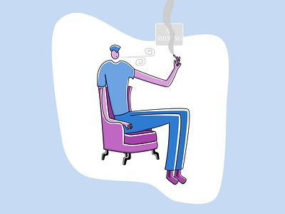 No smoking cigarette cigarettes smoking illustration web design flat armchair chair smoke smoker